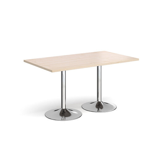 Genoa Rectangular Maple Dining Table with Chrome Trumpet Base 1400mmX800mm