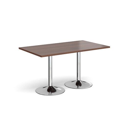 Genoa Rectangular Walnut Dining Table with Chrome Trumpet Base 1400mmX800mm