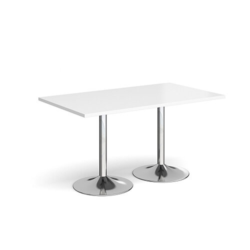 Genoa Rectangular White Dining Table with Chrome Trumpet Base 1400mmX800mm