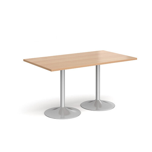 Genoa Rectangular Beech Dining Table with Silver Trumpet Base 1400mmX800mm