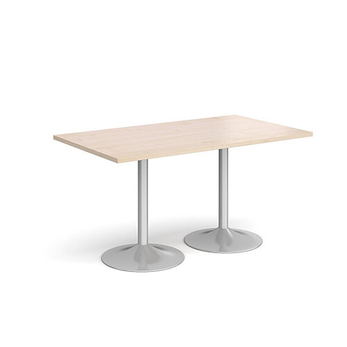 Genoa Rectangular Maple Dining Table with Silver Trumpet Base 1400mmX800mm