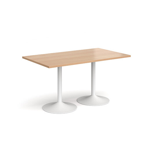 Genoa Rectangular Beech Dining Table with White Trumpet Base 1400mmX800mm