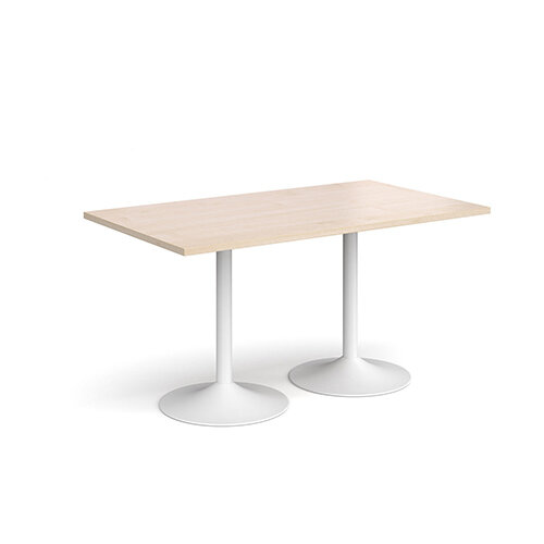 Genoa Rectangular Maple Dining Table with White Trumpet Base 1400mmX800mm