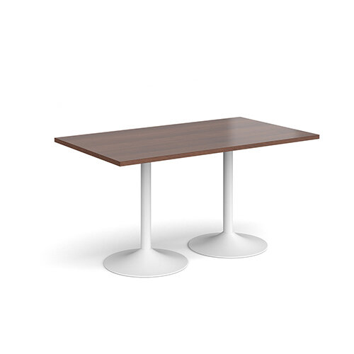 Genoa Rectangular Walnut Dining Table with White Trumpet Base 1400mmX800mm