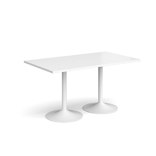 Genoa Rectangular White Dining Table with White Trumpet Base 1400mmX800mm
