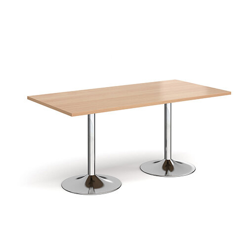 Genoa Rectangular Beech Dining Table with Chrome Trumpet Base 1600mmX800mm