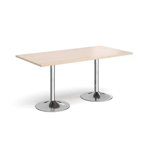 Genoa Rectangular Maple Dining Table with Chrome Trumpet Base 1600mmX800mm