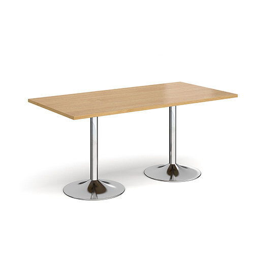 Genoa Rectangular Oak Dining Table with Chrome Trumpet Base 1600mmX800mm