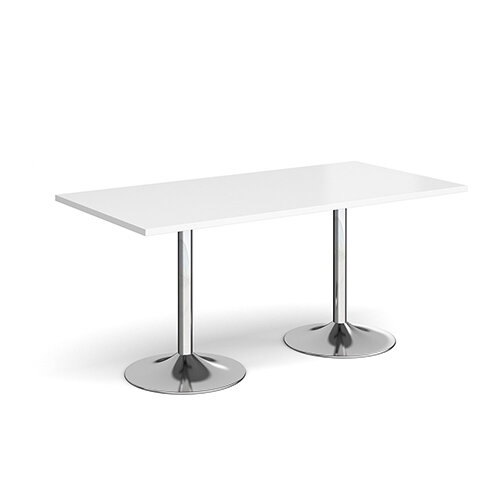 Genoa Rectangular White Dining Table with Chrome Trumpet Base 1600mmX800mm