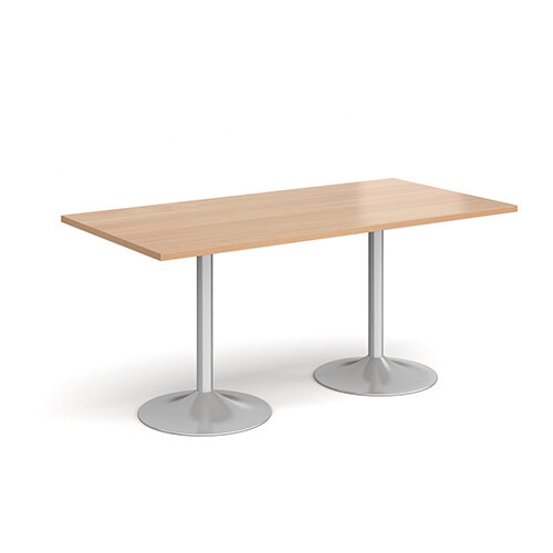 Genoa Rectangular Beech Dining Table with Silver Trumpet Base 1600mmX800mm