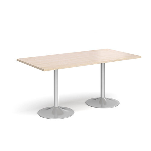 Genoa Rectangular Maple Dining Table with Silver Trumpet Base 1600mmX800mm