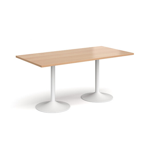 Genoa Rectangular Beech Dining Table with White Trumpet Base 1600mmX800mm