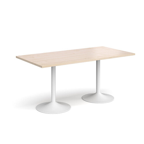 Genoa Rectangular Maple Dining Table with White Trumpet Base 1600mmX800mm