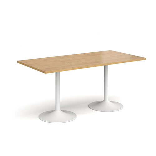 Genoa Rectangular Oak Dining Table with White Trumpet Base 1600mmX800mm