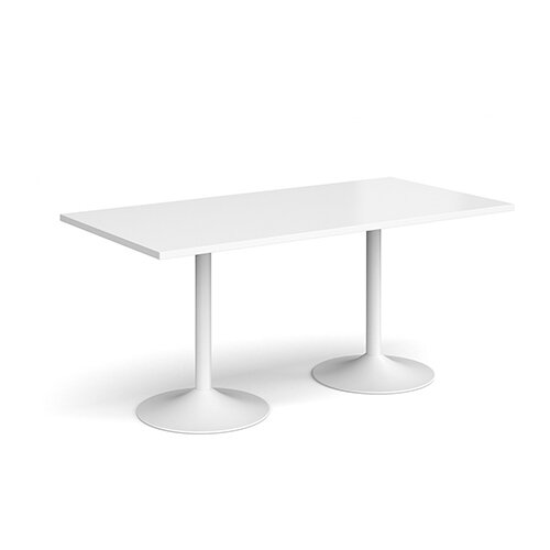 Genoa Rectangular White Dining Table with White Trumpet Base 1600mmX800mm