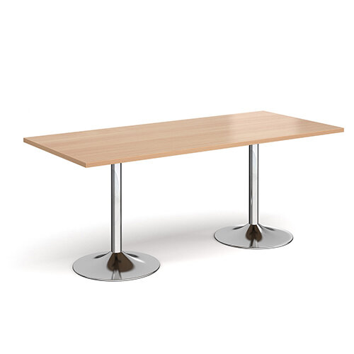 Genoa Rectangular Beech Dining Table with Chrome Trumpet Base 1800mmX800mm