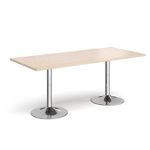 Genoa Rectangular Maple Dining Table with Chrome Trumpet Base 1800mmX800mm
