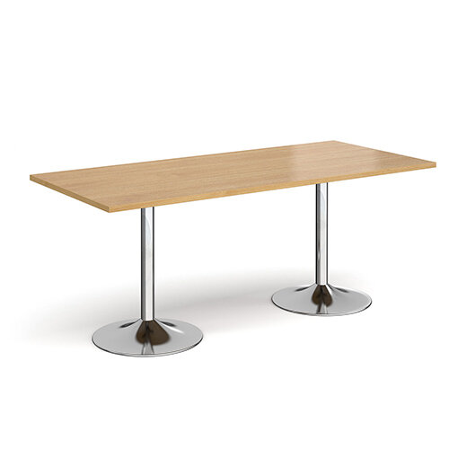 Genoa Rectangular Oak Dining Table with Chrome Trumpet Base 1800mmX800mm