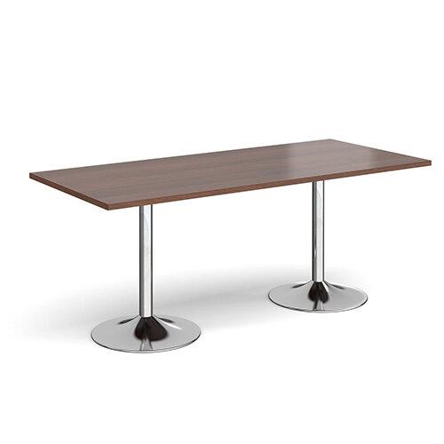 Genoa Rectangular Walnut Dining Table with Chrome Trumpet Base 1800mmX800mm