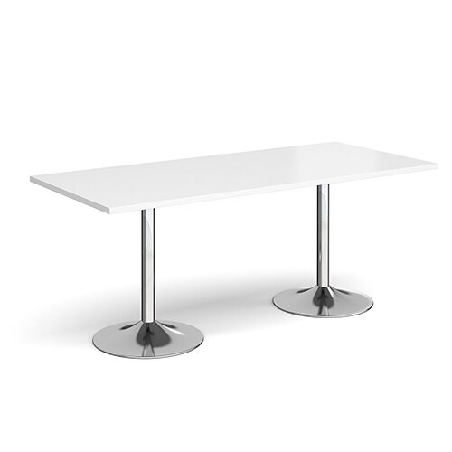 Genoa Rectangular White Dining Table with Chrome Trumpet Base 1800mmX800mm