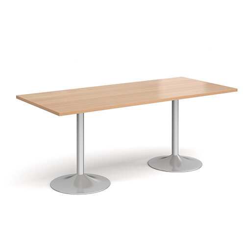 Genoa Rectangular Beech Dining Table with Silver Trumpet Base 1800mmX800mm