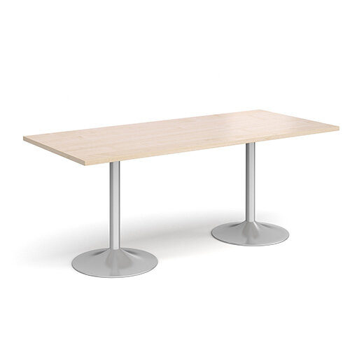 Genoa Rectangular Maple Dining Table with Silver Trumpet Base 1800mmX800mm