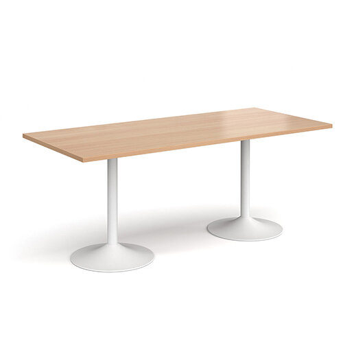 Genoa Rectangular Beech Dining Table with White Trumpet Base 1800mmX800mm