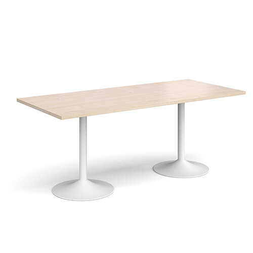 Genoa Rectangular Maple Dining Table with White Trumpet Base 1800mmX800mm