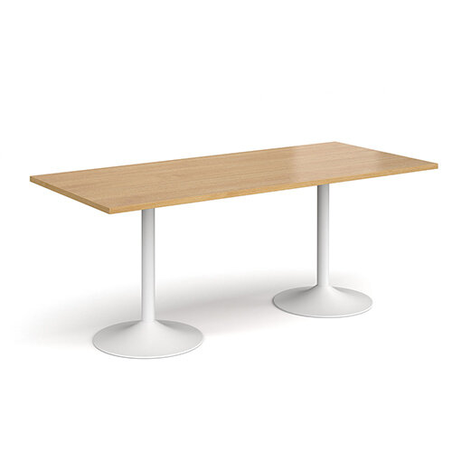 Genoa Rectangular Oak Dining Table with White Trumpet Base 1800mmX800mm