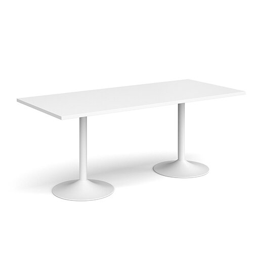 Genoa Rectangular White Dining Table with White Trumpet Base 1800mmX800mm