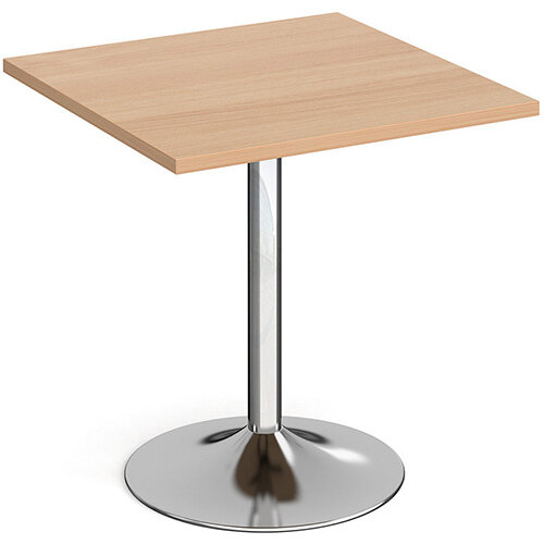 Genoa Square Beech Dining Table with Chrome Trumpet Base 700mm
