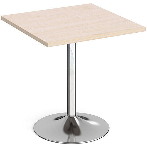 Genoa Square Maple Dining Table with Chrome Trumpet Base 700mm
