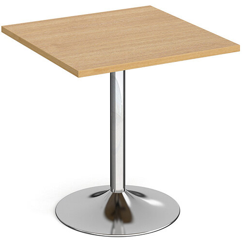 Genoa Square Oak Dining Table with Chrome Trumpet Base 700mm