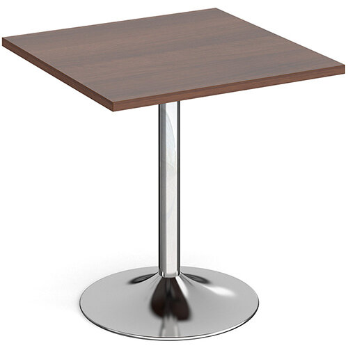 Genoa Square Walnut Dining Table with Chrome Trumpet Base 700mm