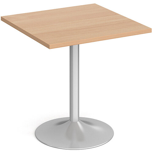Genoa Square Beech Dining Table with Silver Trumpet Base 700mm
