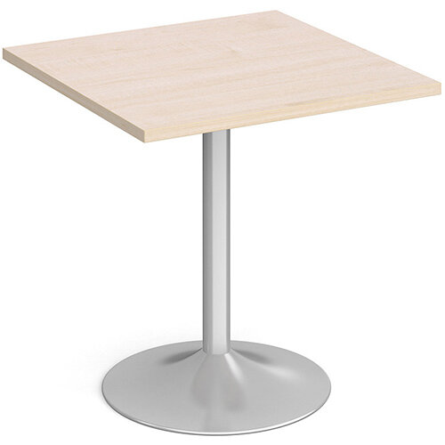Genoa Square Maple Dining Table with Silver Trumpet Base 700mm