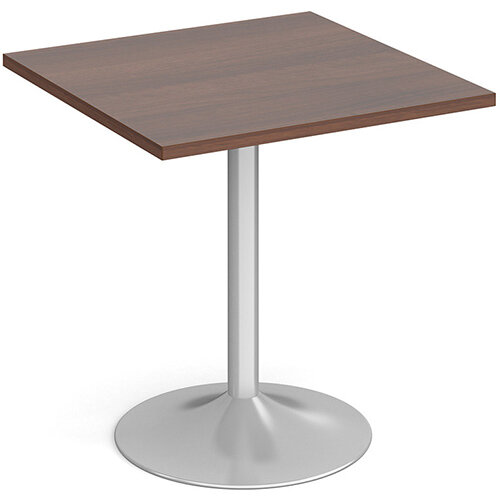 Genoa Square Walnut Dining Table with Silver Trumpet Base 700mm