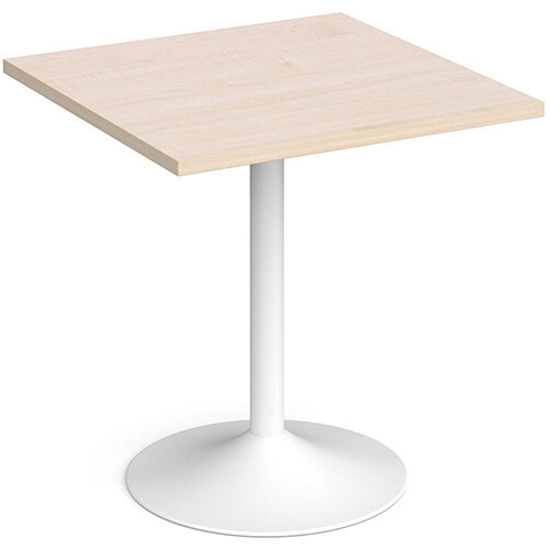 Genoa Square Maple Dining Table with White Trumpet Base 700mm
