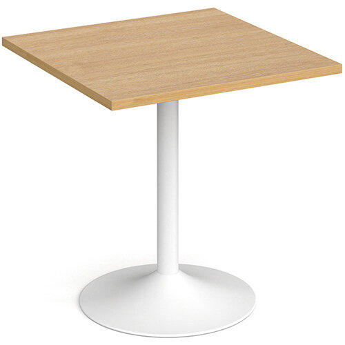 Genoa Square Oak Dining Table with White Trumpet Base 700mm