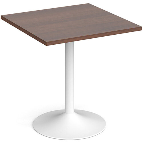 Genoa Square Walnut Dining Table with White Trumpet Base 700mm