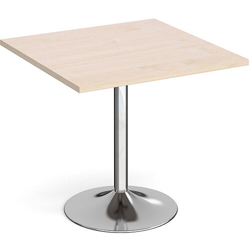 Genoa Square Maple Dining Table with Chrome Trumpet Base 800mm