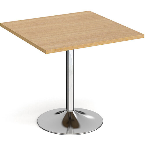 Genoa Square Oak Dining Table with Chrome Trumpet Base 800mm