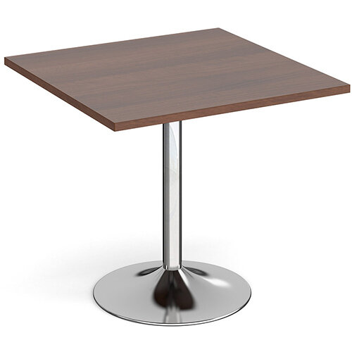 Genoa Square Walnut Dining Table with Chrome Trumpet Base 800mm