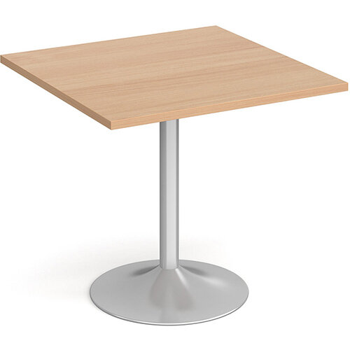 Genoa Square Beech Dining Table with Silver Trumpet Base 800mm