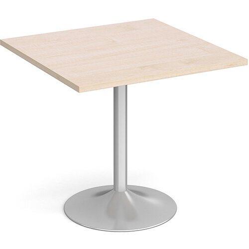 Genoa Square Maple Dining Table with Silver Trumpet Base 800mm