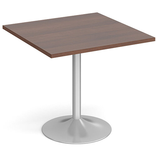 Genoa Square Walnut Dining Table with Silver Trumpet Base 800mm