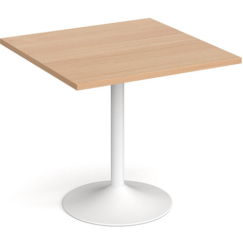 Genoa Square Beech Dining Table with White Trumpet Base 800mm
