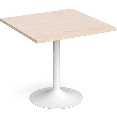 Genoa Square Maple Dining Table with White Trumpet Base 800mm