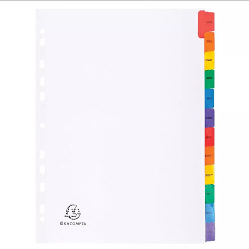 Exacompta A4 White Index Coloured Tabs 12 Part January - December 1113E
