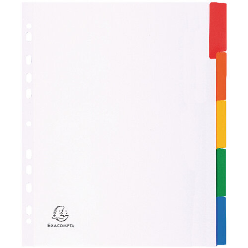 Exacompta A4 Maxi White Divider Coloured Plastic Tabs 5 Part 4305E